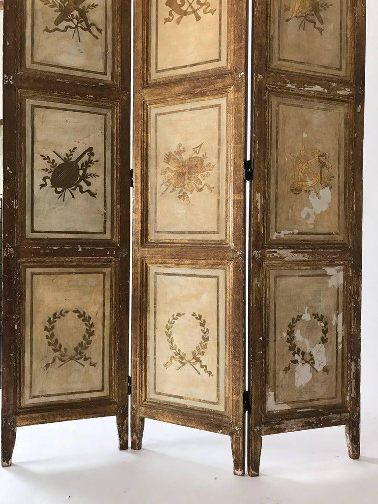 Greco Roman Rare Italian Gilt Florentine Folding Screen or Room Divider For Sale