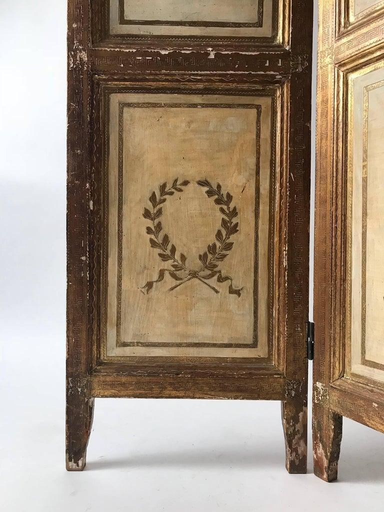 Giltwood Rare Italian Gilt Florentine Folding Screen or Room Divider For Sale