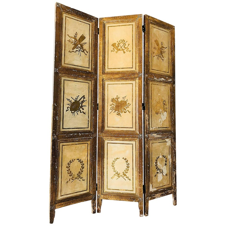 Rare Italian Gilt Florentine Folding Screen or Room Divider For Sale
