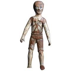Rare Italian Hand Carved Folk Art Santos Doll, circa 1840