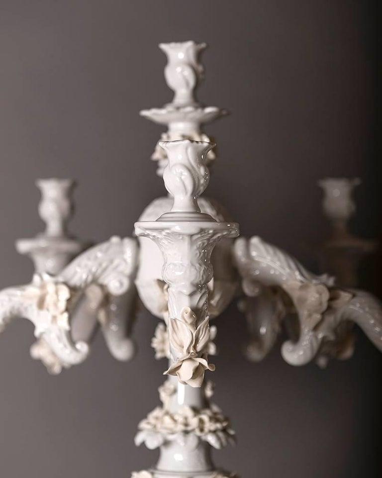 Handcrafted White Porcelain Neoclassical Italian Candlesticks, 1950s For Sale 9