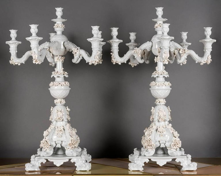 Rare Italian handcrafted white porcelain candlesticks, hand applications of precious white porcelain flowers, six candleholders.
