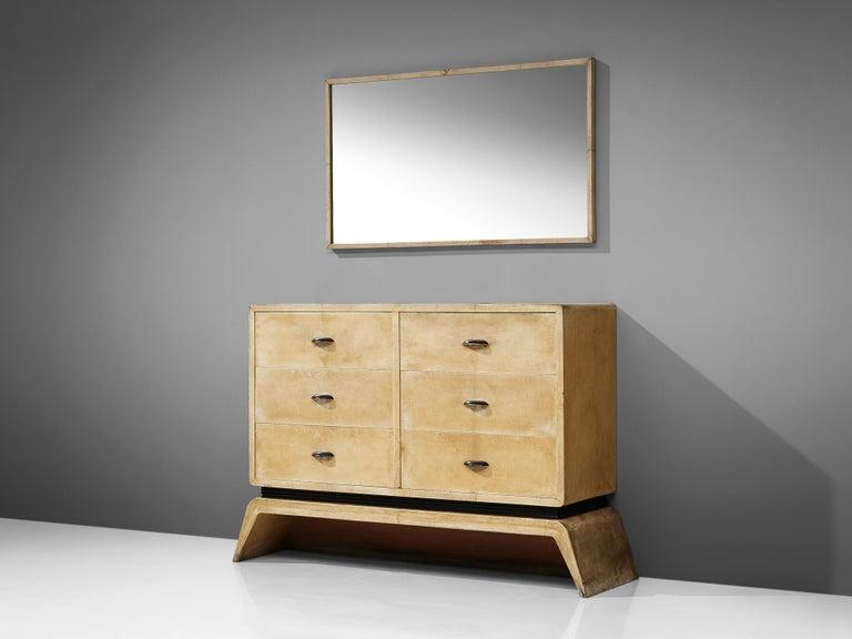 Mid-20th Century Rare Italian Mirror by Valzania in Parchment For Sale