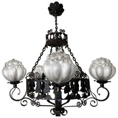 Rare Italian Murano Bubble Art Glass Hand Forged Wrought Iron Hanging Chandelier