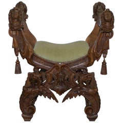 Rare Italian Renaissance Hand Carved Walnut Chair / Bench Seat Cherubs Dragons