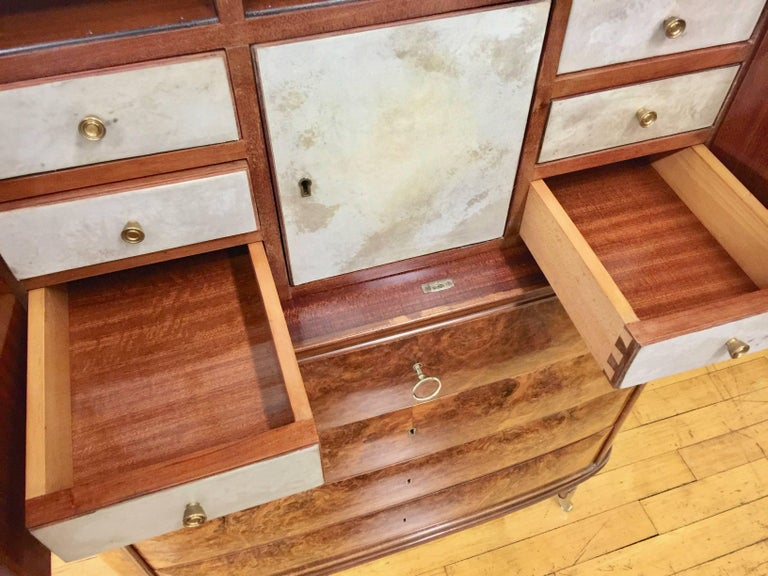 Rare Italian Secretaire Attributed to Osvaldo Borsani with Marble Top For Sale 9