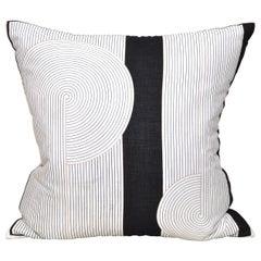 Rare Italian Vintage Valentino Scarf Cushion Pillow with Linen Black White Gold
