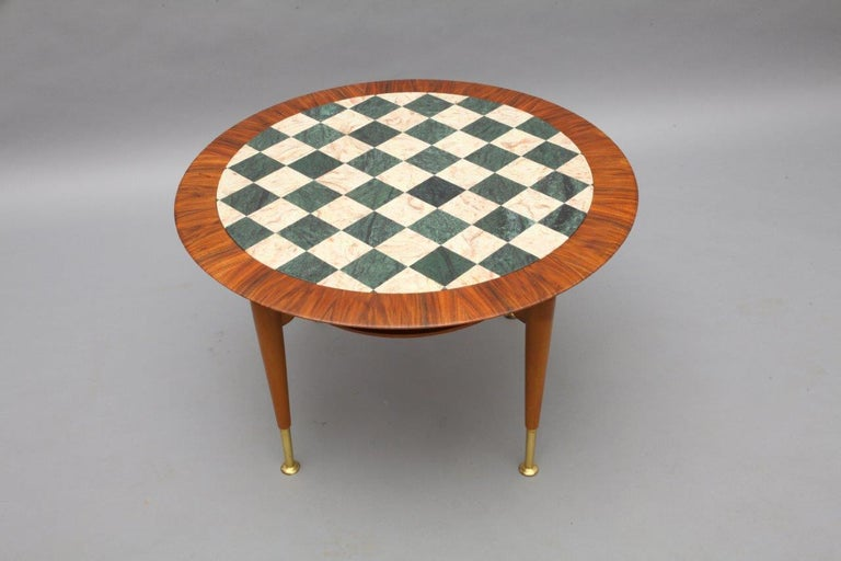 Mid-Century Modern Rare Italien Coffeetable with Marble Inlaid Plate, Italy, 1950 For Sale