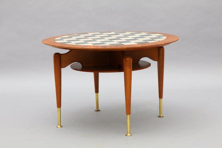 Rare Italien Coffeetable with Marble Inlaid Plate, Italy, 1950 In Excellent Condition For Sale In Vienna, Vienna