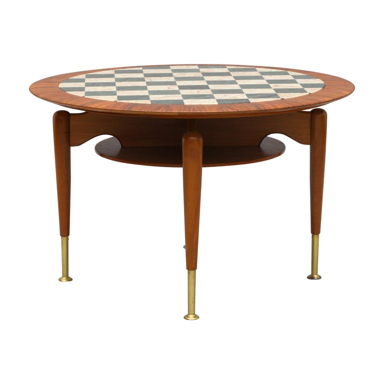 Rare Italien Coffeetable with Marble Inlaid Plate, Italy, 1950 For Sale