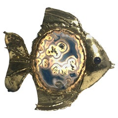 Rare Jacques Duval-Brasseur Bronze and Agate Fish Sculpture & Lamp, 1970s, Italy