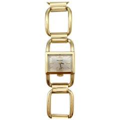 Rare Jaeger-LeCoultre Etrier Watch in Yellow Gold with Its Etrier Bracelet