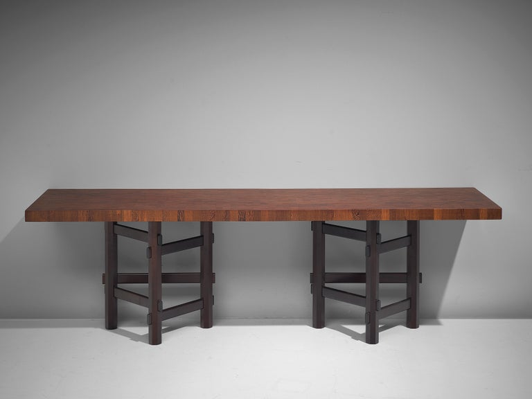 Rare Jan Vlug Console Table in Wengé and Mahogany For Sale 4
