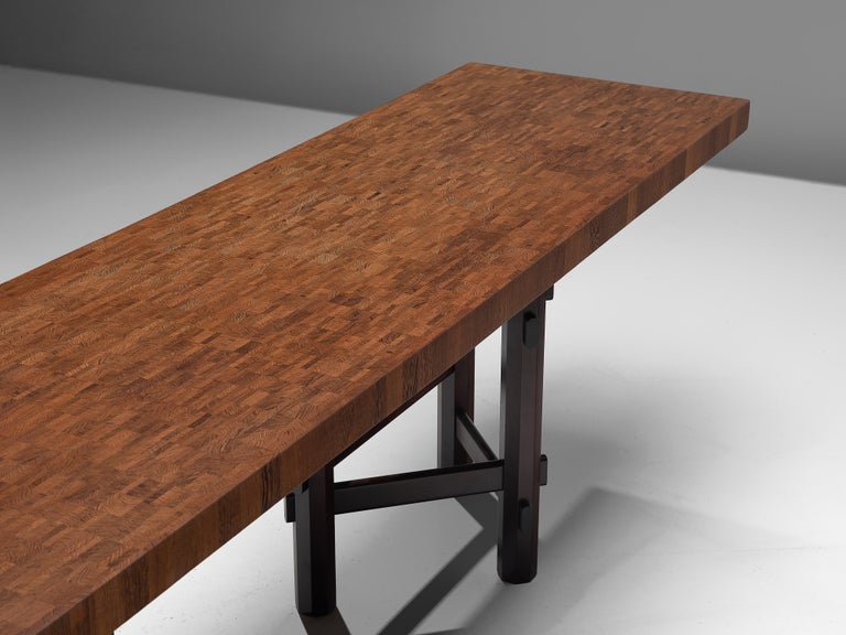 Mid-Century Modern Rare Jan Vlug Console Table in Wengé and Mahogany For Sale