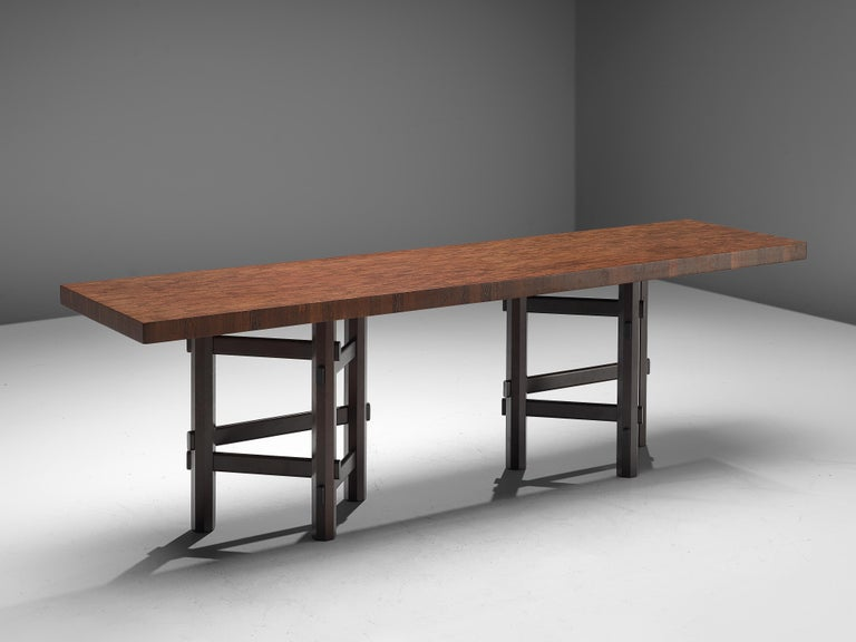 Belgian Rare Jan Vlug Console Table in Wengé and Mahogany For Sale