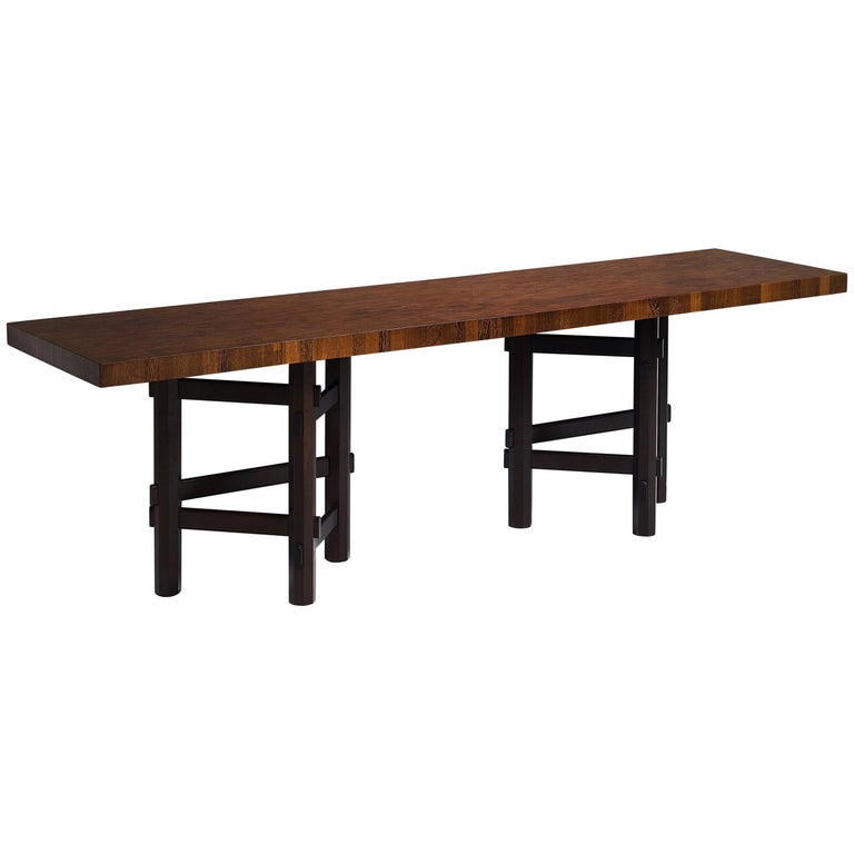 Rare Jan Vlug Console Table in Wengé and Mahogany For Sale