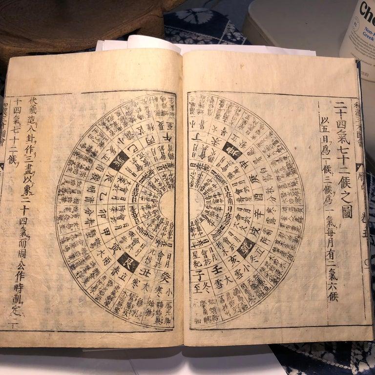 Meiji  Japanese Feng Shui Antique Woodblock Book Wind Water Frameable Prints For Sale