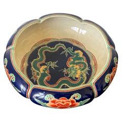 Rare Japanese Ceramic Glazed Bowl Makuzu Kozan Meiji Period