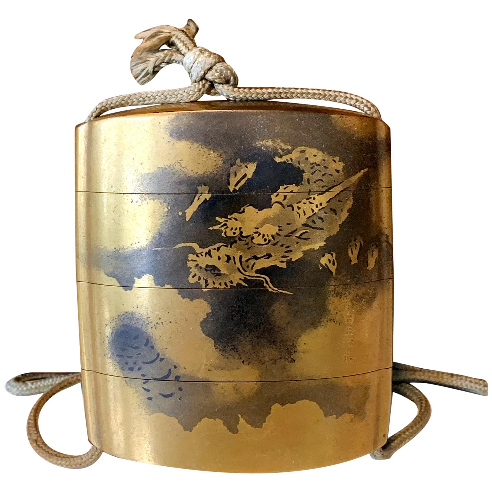 Rare Japanese Sumi-E Lacquer Inro Yamada Jokasai Edo Period