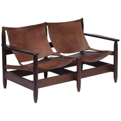 Rare Midcentury Brazilian Bench/Sofa in Rosewood and Leather, 1960s