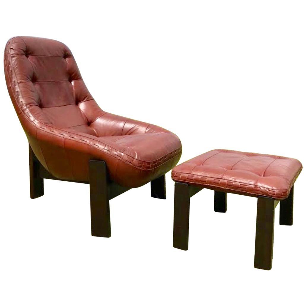 Rare Jean Gillon Rosewood Leather Lounge Chair Ottoman Probel Brazilian