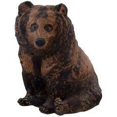 Rare Jeanne Grut for Royal Copenhagen Aluminia Faience, Sitting Bear