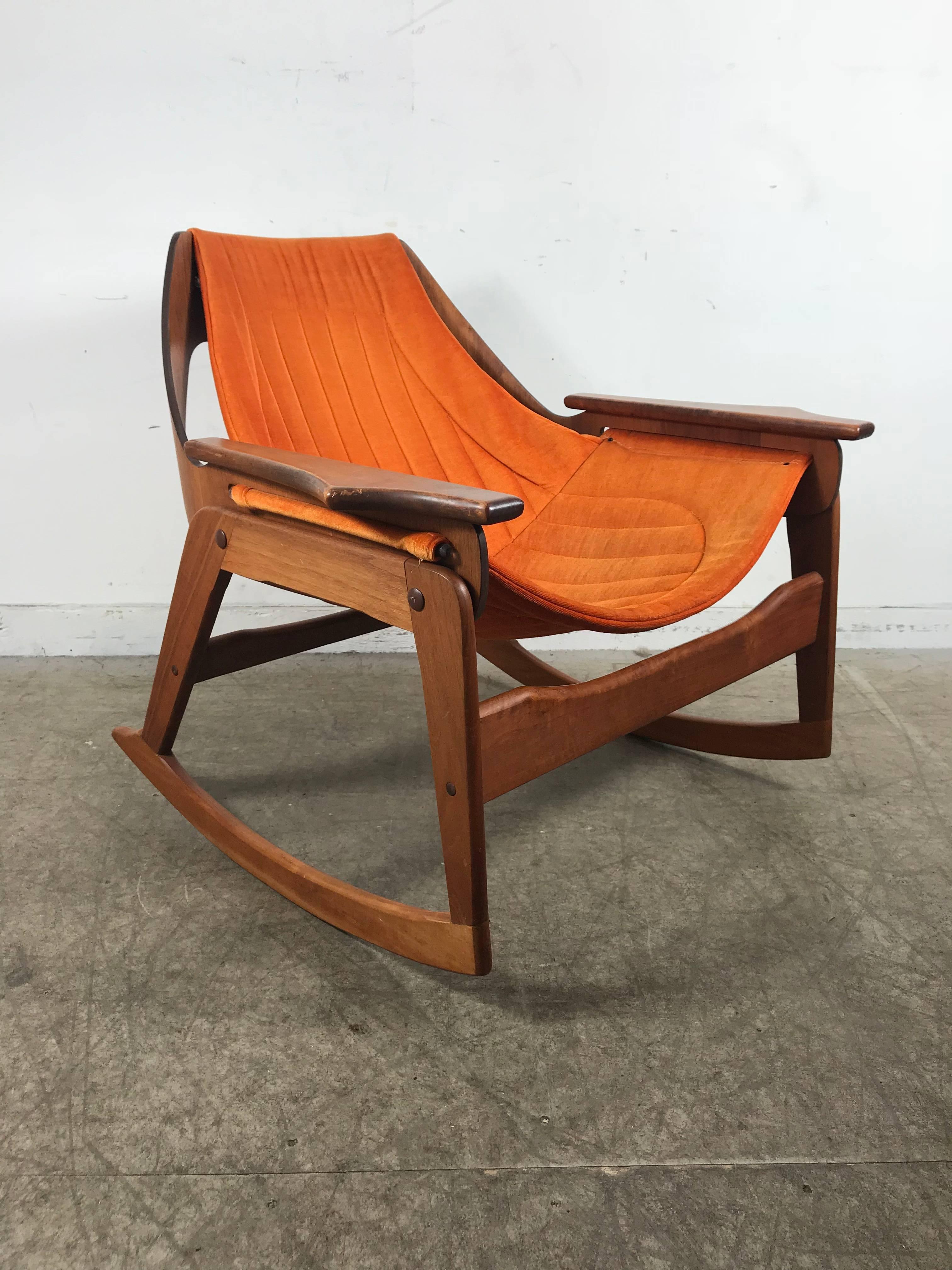 Mid Century Modern Rare Jerry Johnson Midcentury Walnut Sling Rocking Chair,  1960s For Sale