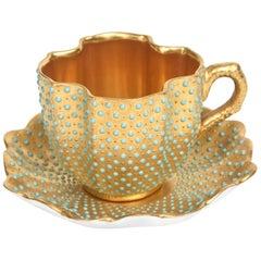 Rare Jeweled All-Over Gilt Demi Tasse Cup & Saucer, Coalport England, circa 1905