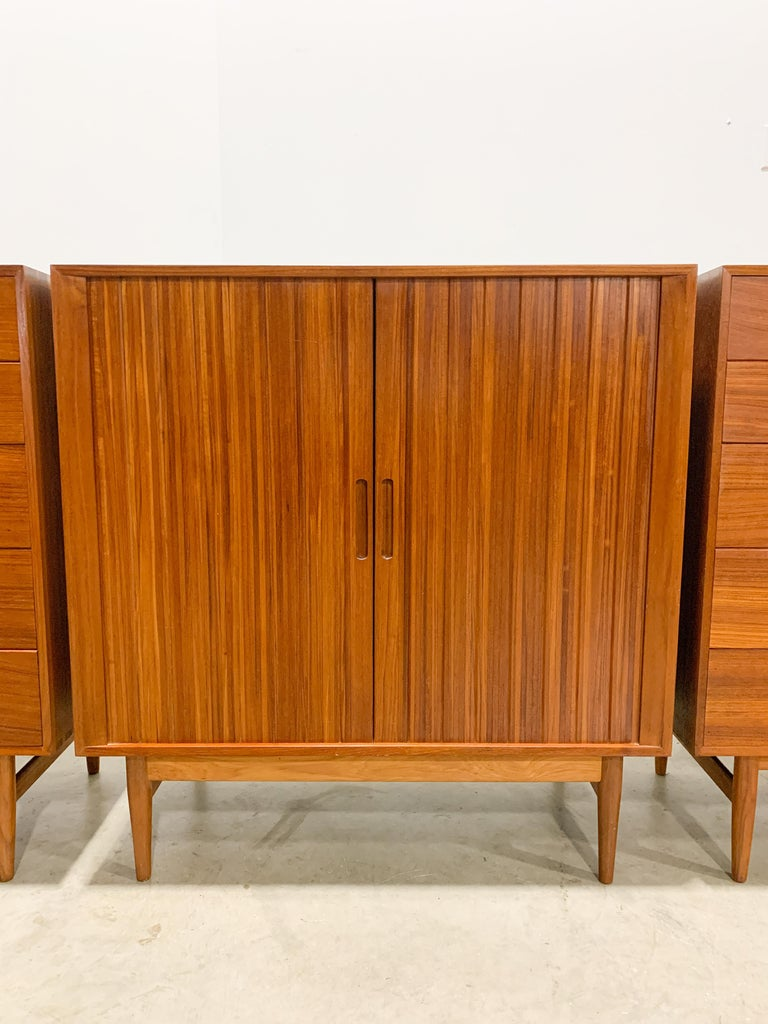 Rare Johannes Aasbjerg Dresser and Tambour Cabinet Set In Excellent Condition For Sale In Kalamazoo, MI