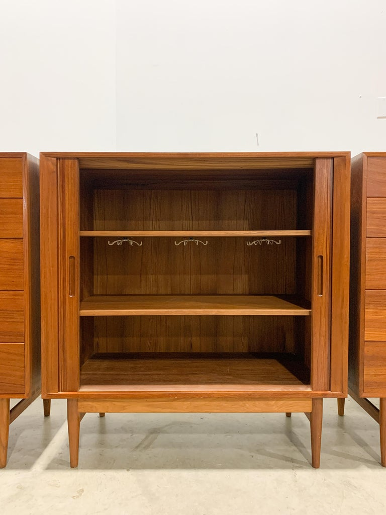 20th Century Rare Johannes Aasbjerg Dresser and Tambour Cabinet Set For Sale