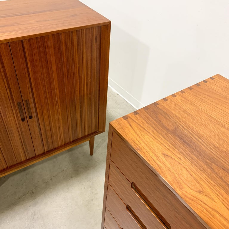 Teak Rare Johannes Aasbjerg Dresser and Tambour Cabinet Set For Sale