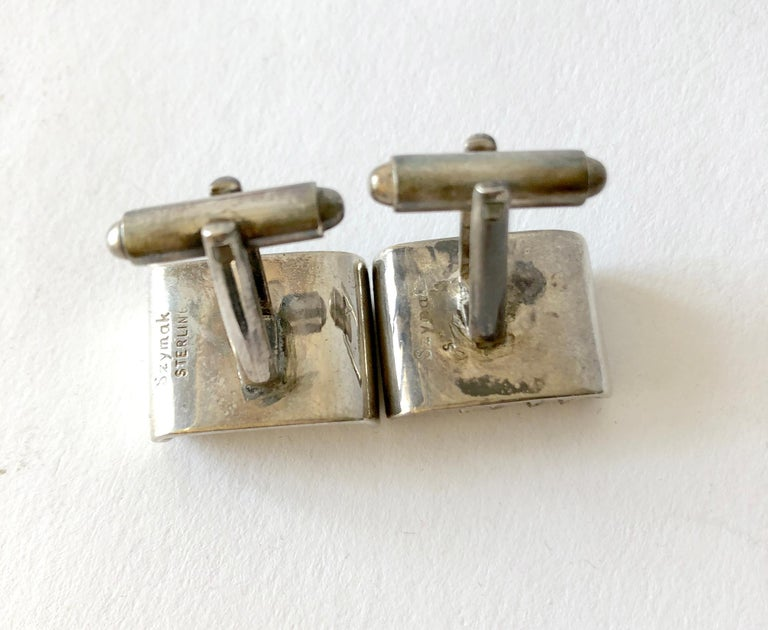 Rare John Syzmak Sterling Silver American Modernist Kinetic Abacus Cufflinks In Good Condition For Sale In Los Angeles, CA