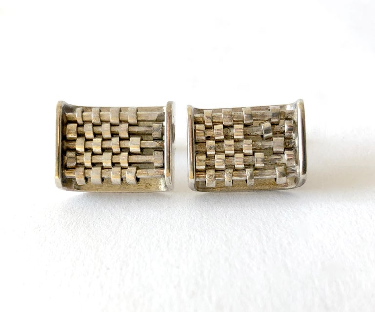 Women's or Men's Rare John Syzmak Sterling Silver American Modernist Kinetic Abacus Cufflinks For Sale