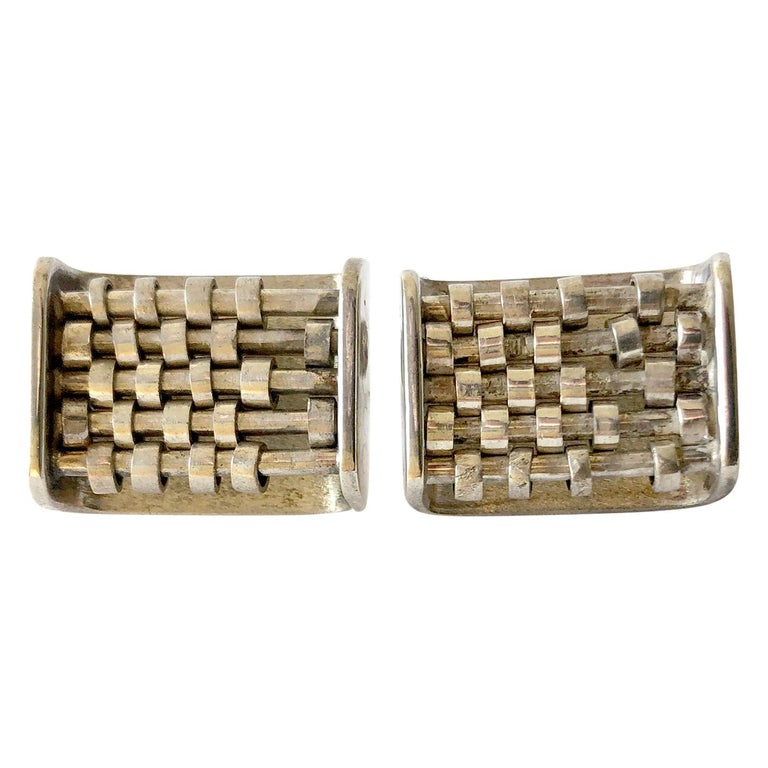 Rare John Syzmak Sterling Silver American Modernist Kinetic Abacus Cufflinks For Sale