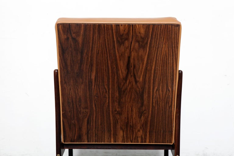 Rare Jorge Zalszupin Rosewood Framed Brazilian Dining Chair In Good Condition For Sale In North Hollywood, CA
