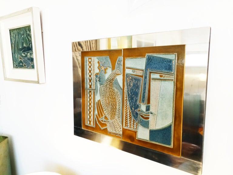 Spanish Rare Josep Vilà Clara Garriga Ceramics Painting, Spain, 1970s For Sale