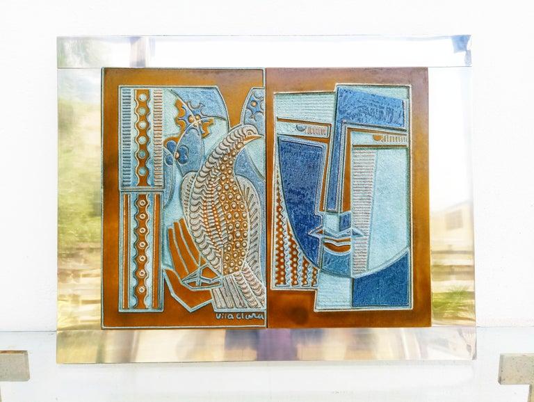 Rare Josep Vilà Clara Garriga Ceramics Painting, Spain, 1970s In Good Condition For Sale In L'Escala, ES