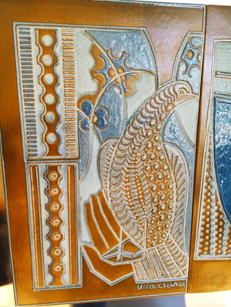 Rare Josep Vilà Clara Garriga Ceramics Painting, Spain, 1970s For Sale 2
