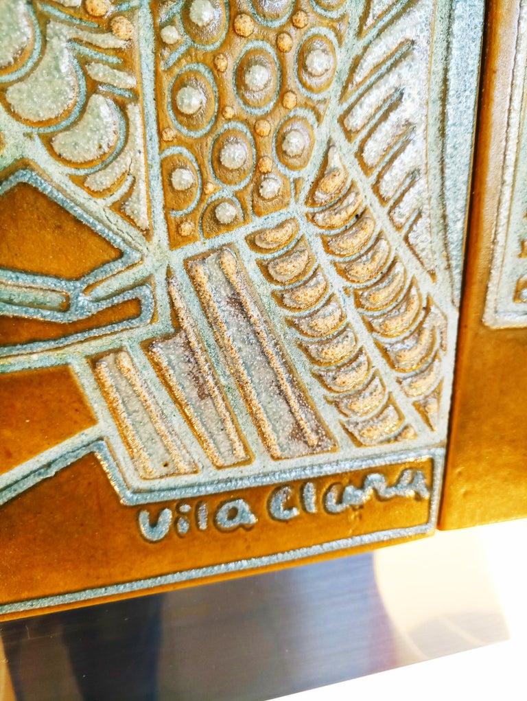 Rare Josep Vilà Clara Garriga Ceramics Painting, Spain, 1970s For Sale 3