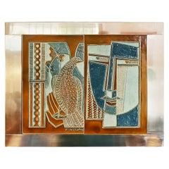 Rare Josep Vilà Clara Garriga Ceramics Painting, Spain, 1970s