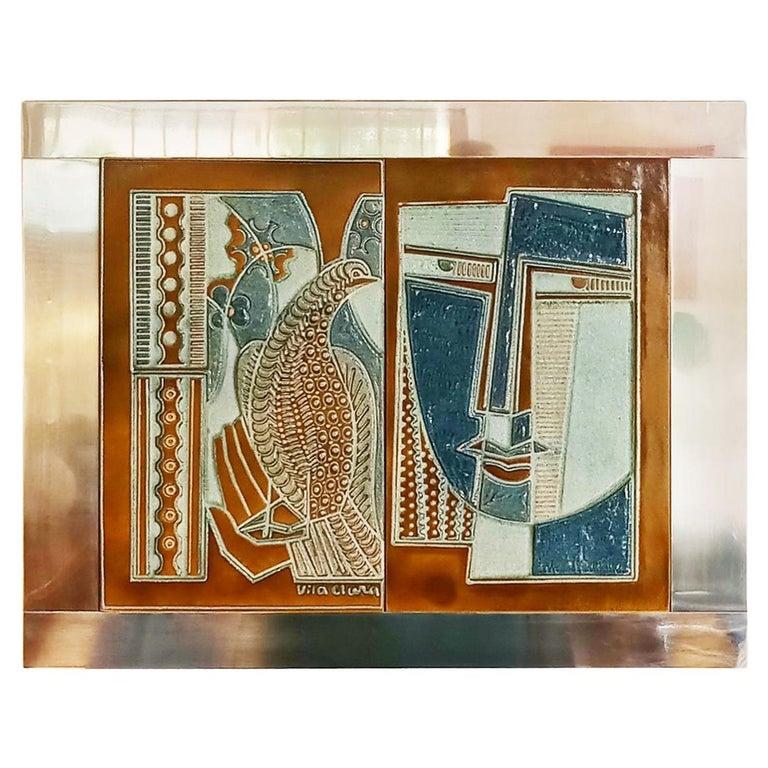 Rare Josep Vilà Clara Garriga Ceramics Painting, Spain, 1970s For Sale