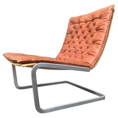 Rare Jørgen Kastholm Lounge Chair with Ottoman by Kill, Original Cognac Leather