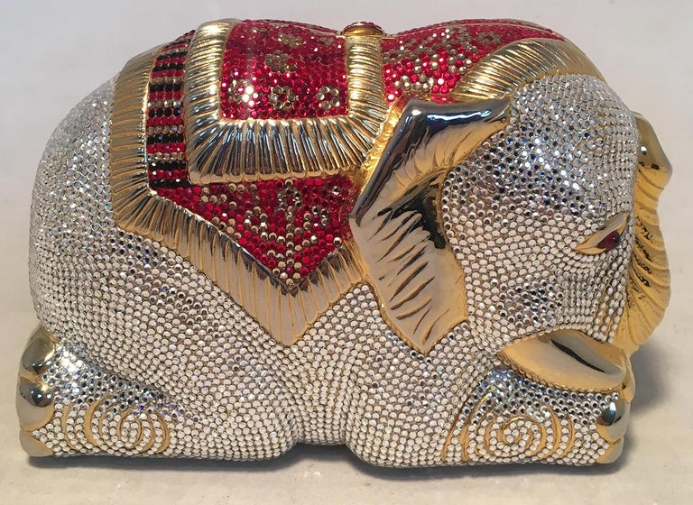 Brown RARE Judith Leiber Swarovski Crystal Elephant Minaudiere Evening Bag Clutch For Sale