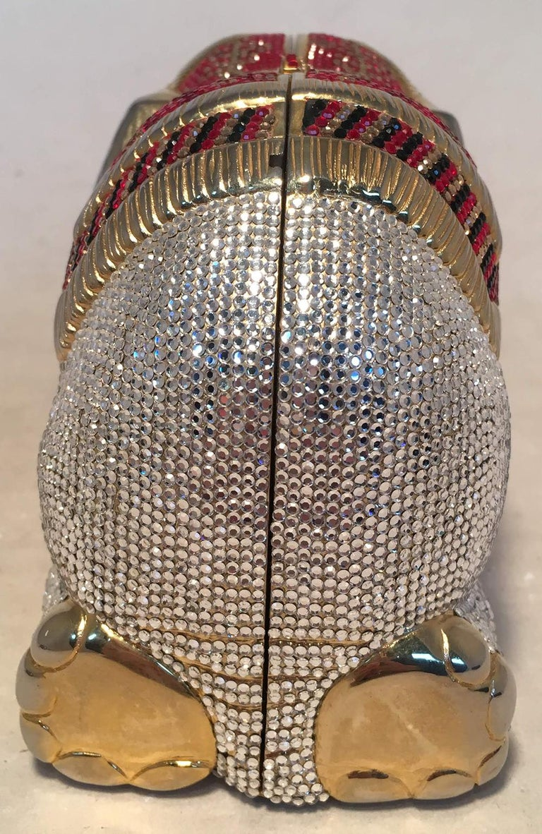 RARE Judith Leiber Swarovski Crystal Elephant Minaudiere Evening Bag Clutch In Excellent Condition For Sale In Philadelphia, PA