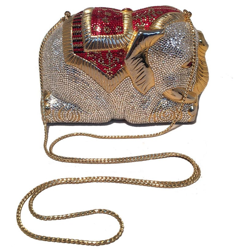 RARE Judith Leiber Swarovski Crystal Elephant Minaudiere Evening Bag Clutch For Sale 4