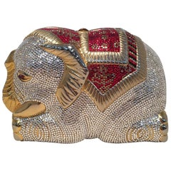 RARE Judith Leiber Swarovski Crystal Elephant Minaudiere Evening Bag Clutch