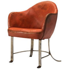 Rare Kaj Gottlob Armchair in Original Red Leather and Steel, 1935