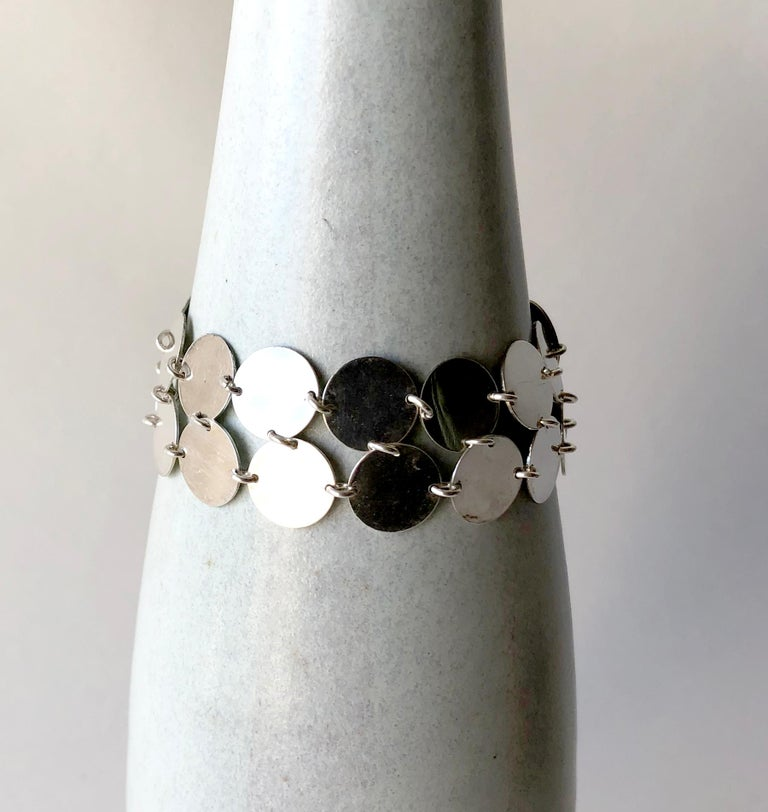 Women's Rare Kalevala Koru Sterling Silver Finnish Modernist Chain Maille Bracelet, 1968 For Sale