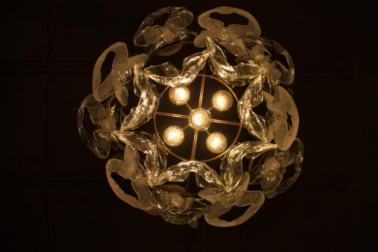 Rare Kalmar Austria Catena Chandelier in Brass and Glass, 1960s For Sale 5