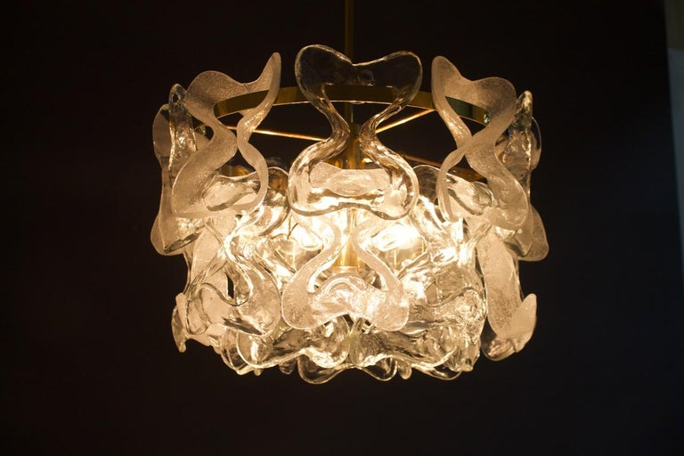 Rare Kalmar Austria Catena Chandelier in Brass and Glass, 1960s For Sale 3